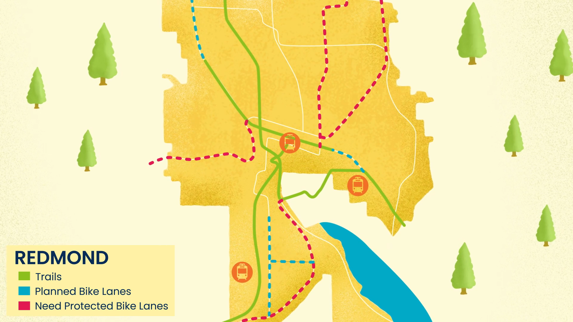 Illustrated Map of Redmond with trails in Green, Future Protected Bike Lanes in Blue and Move Redmond's Proposed Bike Lanes in Red on Bel-Red Road, Old Redmond Road, Avondale and 166th