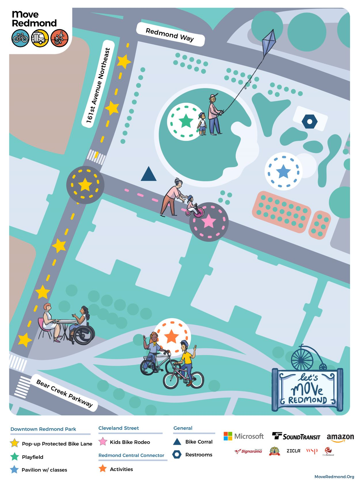 Illustrated map of Downtown Redmond Park, 161st Street and Redmond Central connector park. There will be activities at Redmond Central Connector Park and in Downtown Redmond Park. Along 161st will be a pop up protected bike lane. The Kids bike rodeo will happen on Cleveland Street in front of Downtown Redmond Park. Bathrooms in Downtown Redmond Park.