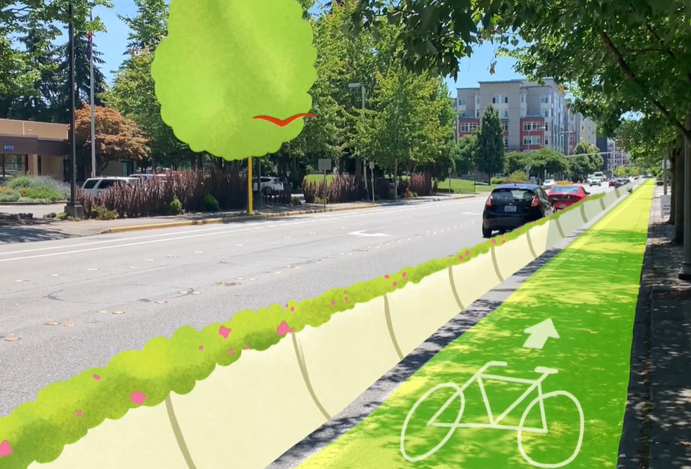 A photo of a street in Redmond with an illustrated protected bike lane that is green and has a planter strip barrier.